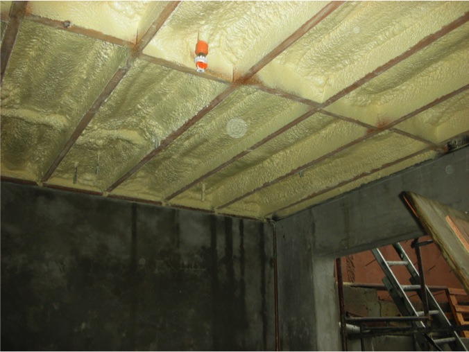 Spray foam over the garage