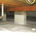 Right - The posts and floor of this crawlspace are covered with a heavy sheet of vapor retarder that is sealed to the post, the walls, and at all seams.