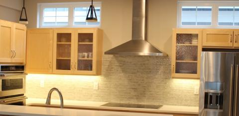 Kitchen with exhaust fan