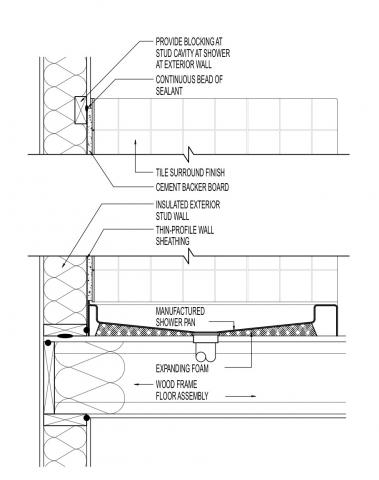 Air Sealing Behind Shower With Thin Profile Sheathing