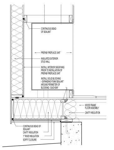 Air sealing at cantilevered manufactured fireplace assembly