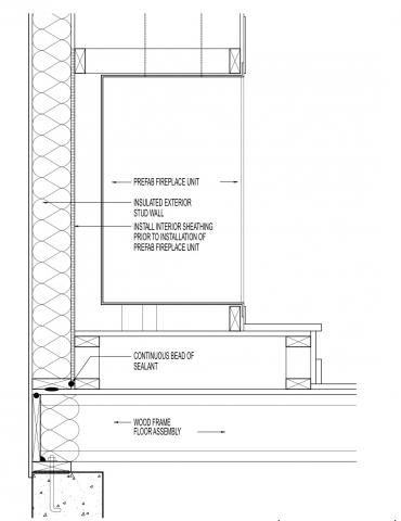 Air sealing at platform for manufactured fireplace assembly