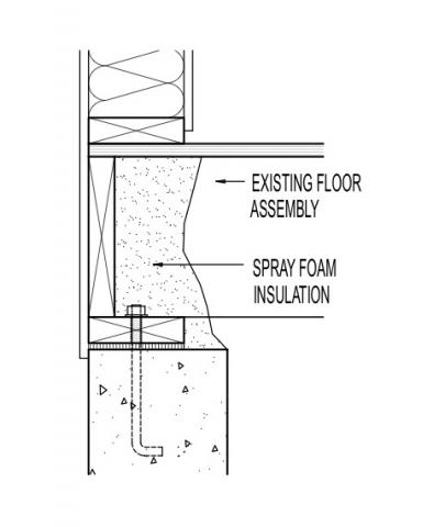 Existing band joist insulation retrofit with spray foam