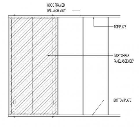 Inset shear panel assembly