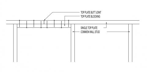Single top plate with centered joint splice