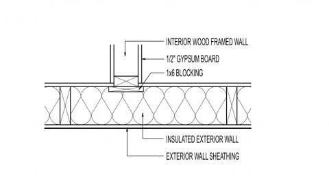 Interior intersecting wall with 1x6