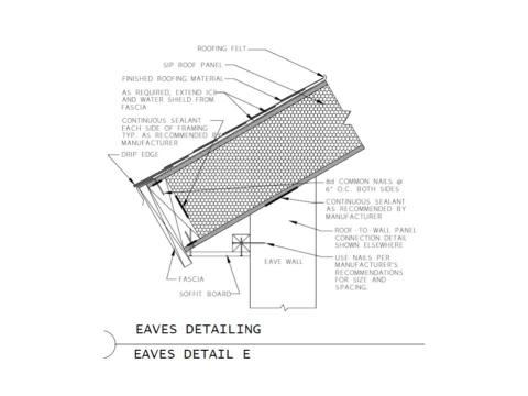 SIP roof panel detailing at the eaves with an angled fascia and