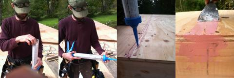 A putty knife is used to press caulk into a seam in the plywood sheathing.