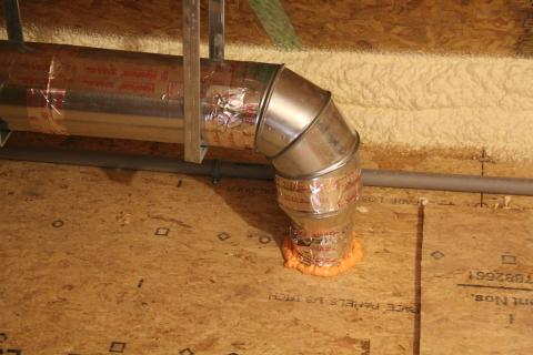 A rigid metal duct vents the exhaust fan.