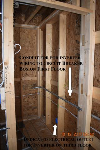 This home was made PV ready with the installation of conduit and a dedicated electrical outlet for wiring from the roof to the circuit breaker box on the first floor.