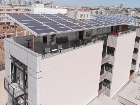 This builder installed a PV panel awning over his multifamily project in San Francisco.