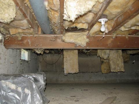 A damp crawlspace