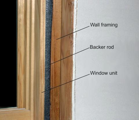 Closed-cell backer rod for air sealing window and door rough openings