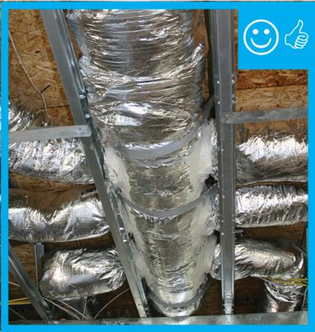 Trunk to duct connections are properly insulated and have been sealed with mastic