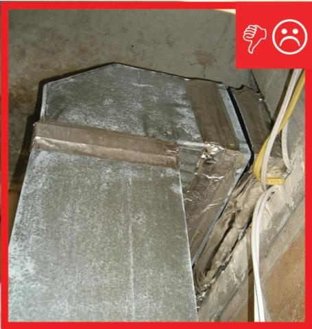 Duct work is uninsulated and not sealed at seams