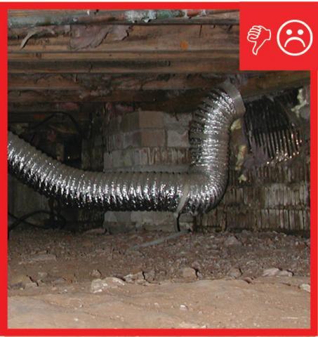 Dryer exhaust line terminates in the crawlspace
