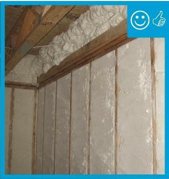 Right – RESNET Grade I installation of spray foam insulation