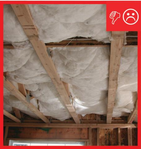 Wrong – Insulation has misalignment, compression, and gaps