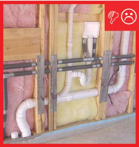 Wrong – Compression and misalignment because insulation is not split around plumbing