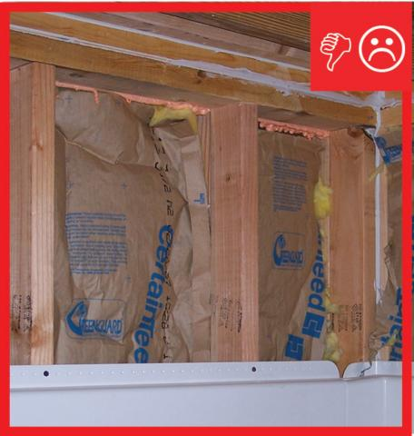 Wrong – No air barrier installed between double wall framing