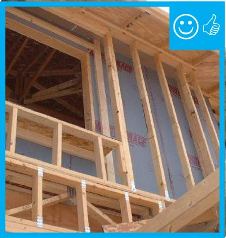 Right – Air barrier is installed between double wall framing