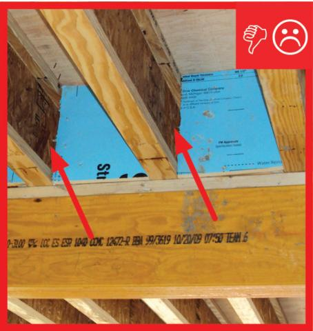 Wrong – Gaps without insulation and not properly sealed
