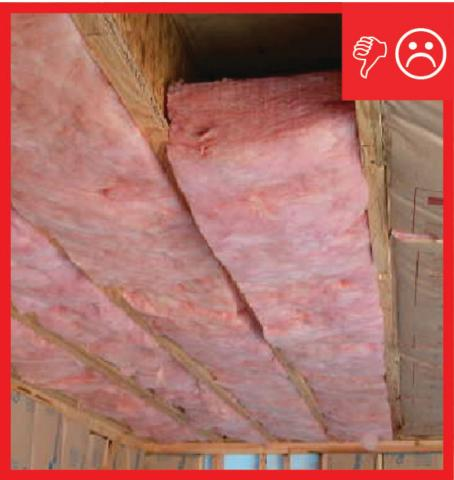 Wrong – Insulation is misaligned with floor above