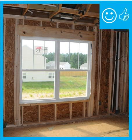 right appropriate use of framing members to support double windows and additional cripples for drywall