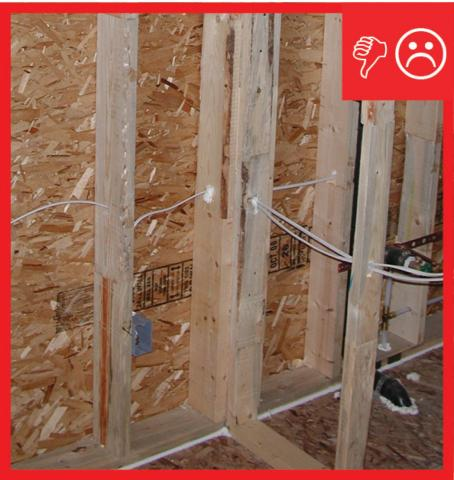 Wrong – Conventional T-post detail is extremely difficult to insulate and usually doesn't happen