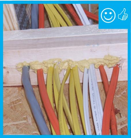 Right – Wiring penetrations have been neatly sealed with foam