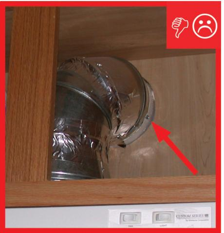 Wrong – Kitchen exhaust has not been air sealed