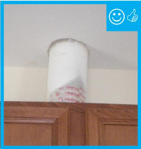 Right – Kitchen exhaust penetration has been sealed with caulk