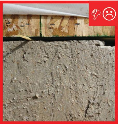 Wrong – No foam gasket or air seal between sill plate and masonry foundation