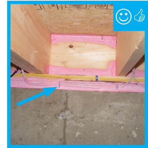 Right – Sill plate was sprayed with foam prior to installation atop foundation