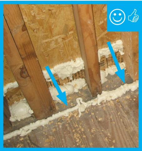 Right – Installed foamed exterior sheathing intersection as well as the sill plate to sub-floor connection