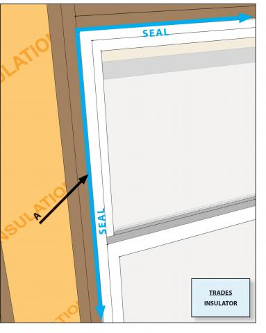 Air seal the rough opening around doors and windows to minimize air leakage.