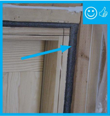Right – Rough opening around window has been filled with backer-rod to air seal