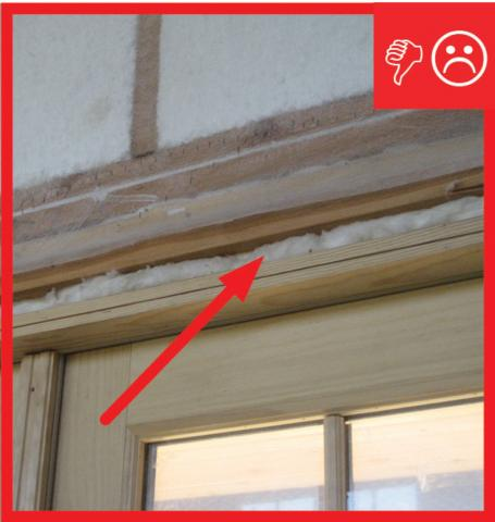 Wrong – Fibrous insulation is not an air barrier and cannot be used to air seal openings