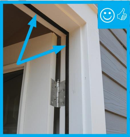 Right – Weather stripping has been installed and remains in contact once door is closed