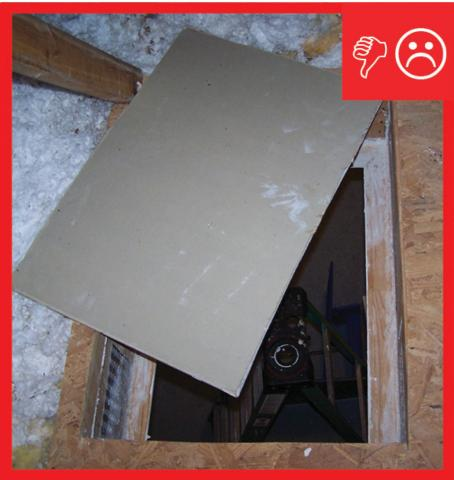 Wrong – Attic access panel does not have an insulation cover installed