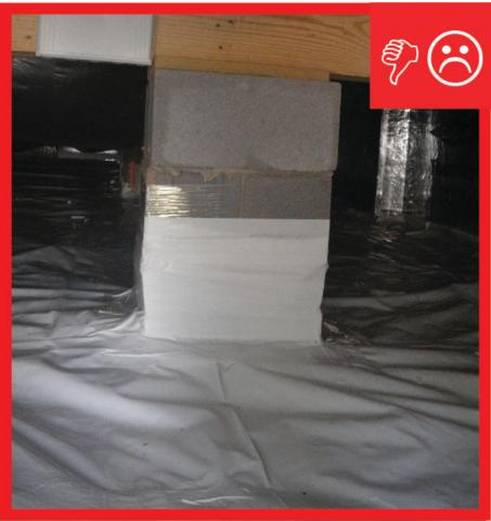 Wrong – The polyethylene sheeting vapor barrier is not attached to the piers with mechanical fasteners