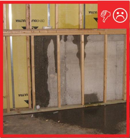 Wrong – The below-grade concrete does not have the correct mixture to be impermeable to moisture