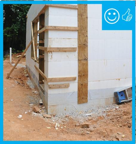 Right – The insulated concrete forms that are below-grade have a damp-proof coating to prevent moisture seeping into the foundation