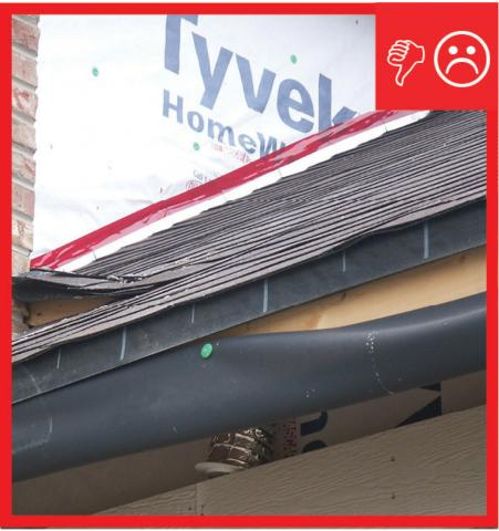 Wrong – The step flashing is not the required height above the roof deck