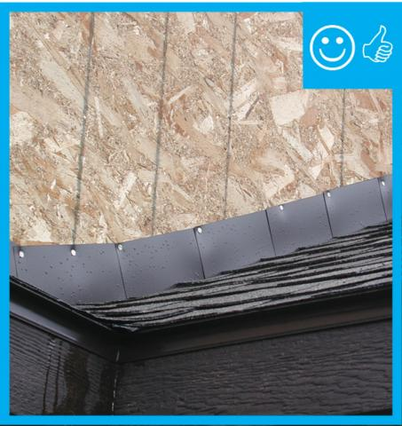 Right – The step flashing is the correct height above the roof deck