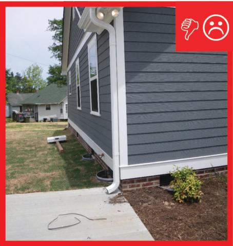 Wrong – The downspout terminates too close to the foundation of the house