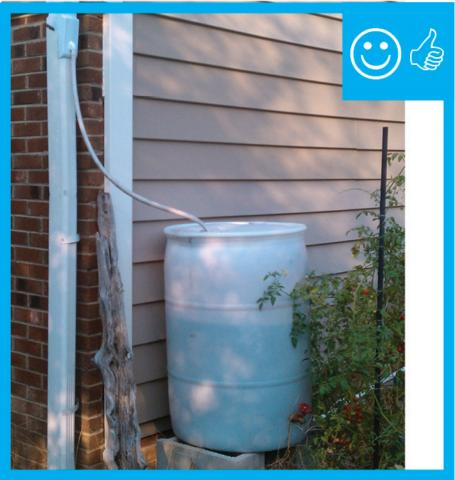 Right – Rain barrel installed with an overflow spout terminating at least 5 feet from foundation