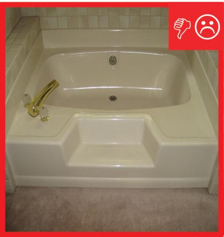 Wrong – There is carpet installed too close to the plumbing fixtures in the bathroom