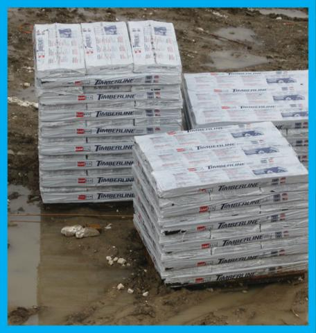Right – Shingles kept wrapped and on pallets to prevent from getting wet