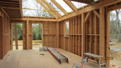 This home is framed with post-and-beam construction and 7